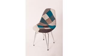 "chair Alexis, blue patchwork, chromed metal ""Y"" feet"