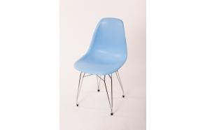 "chair Alexis, blue, chromed metal ""Y"" feet"