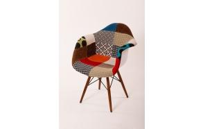 """chair Beata, """"patchwork"""", light brown feet"""