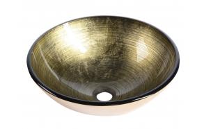 Fianna glass washbasin diameter 42cm, mettalic gold