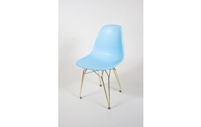 "chair Alexis, blue, golden metal ""Y"" feet"