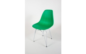 "chair Alexis, green 12, white metal ""Y"" feet"