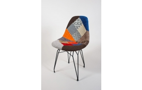 "chair Alexis, patchwork, black metal ""Y"" feet"