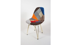 "chair Alexis, patchwork, golden metal ""Y"" feet"