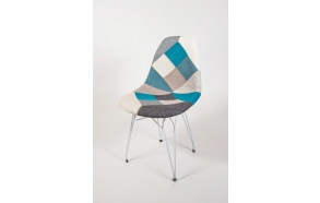 "chair Alexis, blue pathwork, white metal ""Y"" feet"