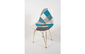 "chair Alexis, blue pathwork, golden metal ""Y"" feet"