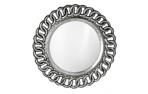 Circle mirror with frame,diam 80 cm, Silver Antique