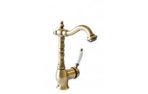 SINGLE LEVER BASIN MIXER WITH POP-UP WASTE NEW OLD BRONZE SHORT SPOUT