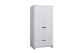 Mini - 2-door wardrobe, white+pink
