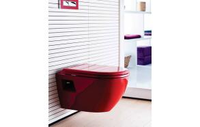 aeglaselt sulguv (soft close) wc iste, punane