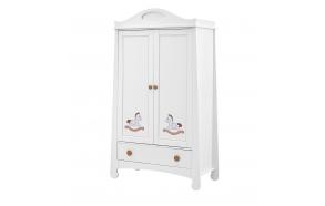 2 uksega riidekapp Parole, prinditud motiiviga, valge+pruun