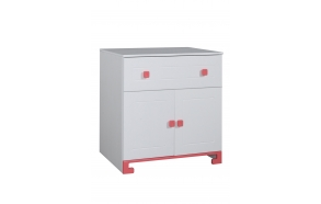 ToTo - 2-door chest,white+pink