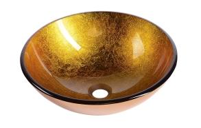 klaasist valamu tööpinnale Ago, kuldne, 42 cm diam.