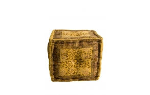 Pouf Indian Block Yellow