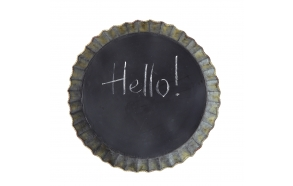 "14-3/8"" Round Tin Fluted Wall Tray Chalkboard / Magnet Board"