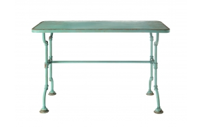 "52""L x 23-3/4""W x 34""H Metal Table, Distressed Blue, KD"