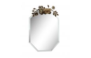 "11-3/4""L x 16-1/2""H Beveled Glass Mirror w/ Metal & Fabric Flower Top"