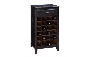 "16-1/2""L x 14-3/4""W x 32-1/2""H Fir & MDF Wine Cabinet w/ 2 Drawers, Holds 24 Wine Bottles, Black"