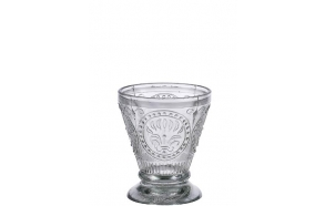 "4""H Embossed Glass Tumbler, Handmade in India"