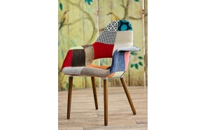 armchair Arne, patchwork, dark brown wooden feet