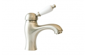 SINGLE LEVER BASIN MIXER WITH POP-UP WASTE WHITE LEVER NICKEL
