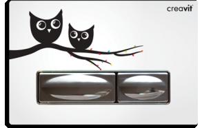 DESIGN FLUSH PLATE OWL METAL+GLASS