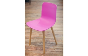 chair Heidy, pink, wooden feet