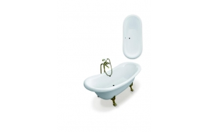 Amelie 190 cm,chromed feet,white, w drain and overflow hole