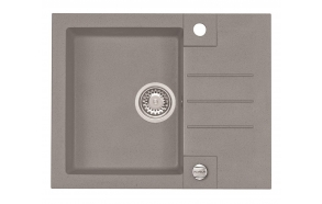 granite basin ROCK30-G81 59,5x47,5x16 cm, cement, automatic siphon