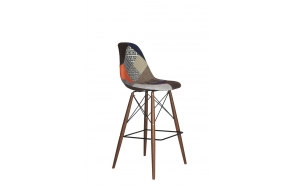 bar stool Alexis, patchwork, dark brown feet