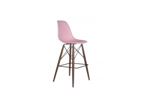 bar stool Alexis, pink, dark brown feet