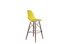 bar stool Alexis, yellow, dark brown feet