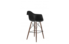 bar stool Beata, black, dark brown feet