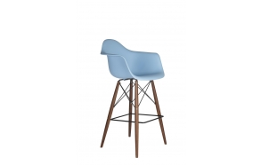 bar stool Beata, blue, dark brown feet