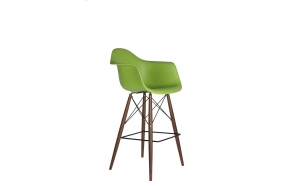 bar stool Beata, green, dark brown feet