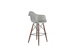 bar stool Beata, light grey, dark brown feet