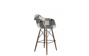 "bar stool Beata, ""grey patchwork"", dark brown feet"