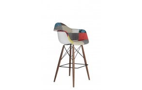 "bar stool Beata, ""patchwork"", dark brown feet"