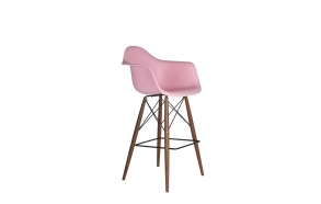 bar stool Beata, pink, dark brown feet