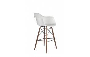 bar stool Beata, white, dark brown feet