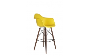 bar stool Beata, yellow, dark brown feet