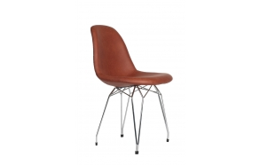 "chair Alexis, brown PU leather, chromed metal ""Y"" feet"