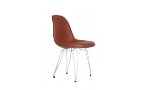 "chair Alexis, brown PU leather, white metal ""Y"" feet"