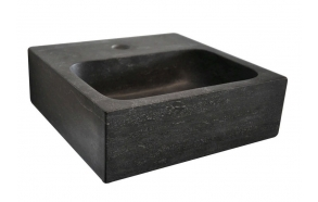 BLOK Stone Washbasin 30x10x30 cm, black anthracite
