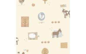 Hoopla Farm Animals Sidewall Neatral