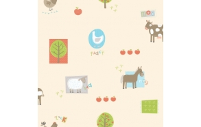 Hoopla Farm Animals Sidewall Multi mid tones
