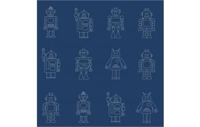 Hoopla Robots Silhouette SidewallNavy