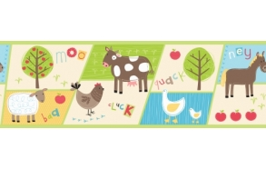 Hoopla Farm Animal Border Multi dark
