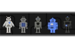 Hoopla Robots Border Blue