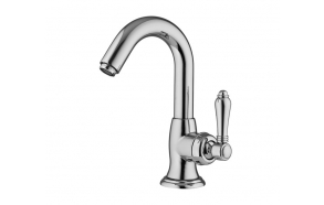 basin mixer with pop-up bright nickel, black Swarosvki handle